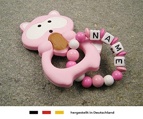 Baby Silikon Greifling Beißring mit Namen | individueller Beißanhänger als Geschenk zur Geburt & Taufe | Mädchen Motiv Waschbär in rosa kleinerStorch