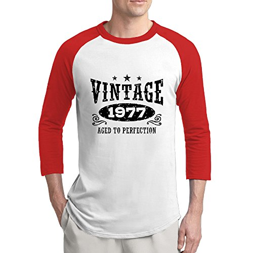 KDKD Fashion 3/4 Sleeve Raglan Vintage 1977 Birthday T Shirt Red M For Mens Or - Myers Outlet Fort