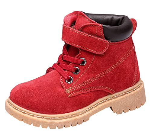 - DADAWEN Boy's Girl's Classic Waterproof Leather Outdoor Strap Winter Boots (Toddler/Little Kid/Big Kid) Red US Size 7 M Toddler