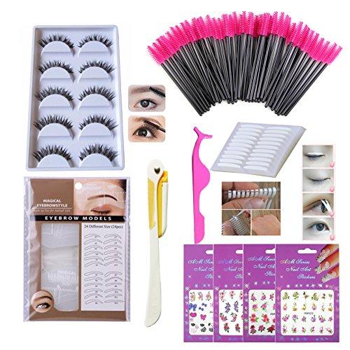 Eyes Makeup Tools Set Kit, Thick Long False Eyelash, Disposable Eyelash Mascara Brushes/wands, Double Sided Eyelid Tape, Eyebrow Stencils, Tweezers, Eyebrow Razor Trimmers (Bi004A) ()