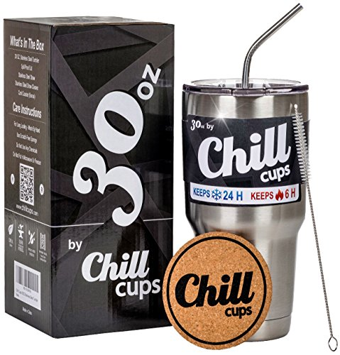 Stainless Steel Travel Tumbler Cup - 30 oz Premium Double Wall Vacuum Insulated Drinking Thermal Mug with Anti-Splash Lid and Straw - Keeps Your Beverage Hot or Cold - Free Bonus Coaster by Chill Cups