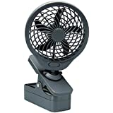 O2COOL 5' Battery Operated Clip Fan Grey