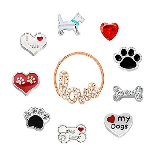 Q&Locket Love My Dogs Floating Charms For Living Memory Locket Pendant Necklace &Bracelet -