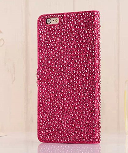"""Fashion Luxurious Style Flip Folio Protection Case with Raindrop Shaped Diamonds for Apple iPhone 6 plus Cover (5.5 inches) with Kick Stand and Magnent Closure Wallet with Card Slots""""BIG MANGO"""" Logo Strap - Red"""