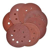 MokenEye 70PCS 5 Inch Sanding Discs 8-Hole Hook and Loop Sandpaper Assorted 40 80 120 240 320 600 800 Grits for Random Orbit Sander
