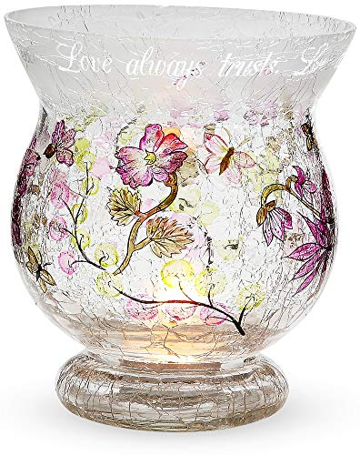 Mark My Words 6-Inch Tall Hurricane Crackled Glass Candle Holder, Love Sentiment
