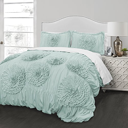 Better Homes and Gardens Kids Ruffled Flowers Bedding Comforter Set, Twin set (Aqua)