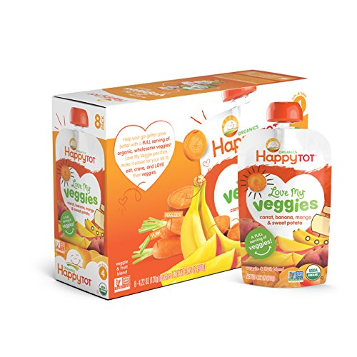 Happy Tot Organic Stage 4 Baby Food, Love My Veggies, Carrot, Banana, Mango & Sweet Potato, 4.22 Ounce (Pack of (Happy Carrot)