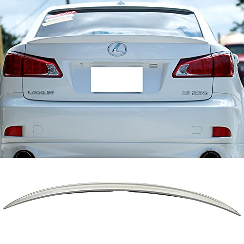 Pre-painted Trunk Spoiler Fits 2006-2013 Lexus IS250 350 | OE Style ABS Painted # 1G1 Tungsten Rear Tail Lip Deck Boot Wing Other Color Available By IKON MOTORSPORTS | 2007 ()