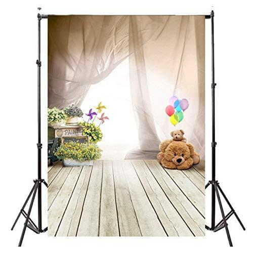 3x5ft White Veil Balloon Cute Bear Windmill Wooden Floor Studio Photo Photography Background Studio Backdrop Props best for Wedding, Personal Photo Wall Decor Baby Children Kids Newborn Photo
