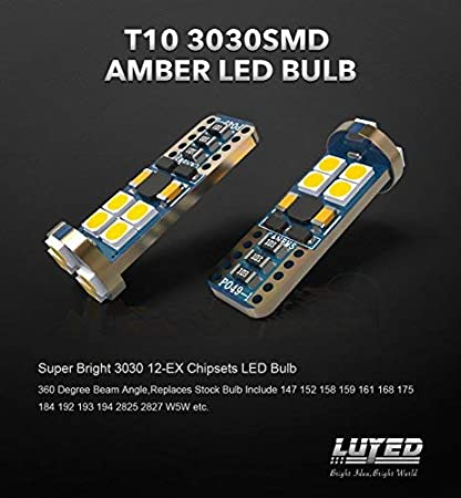 Brightest 194 Led On amazon LUYED 2 X 540 Lumens Extremely Bright 9-30v 3030 12-EX Chipsets Canbus W5W 194 168 2825 Led Bulbs,Amber