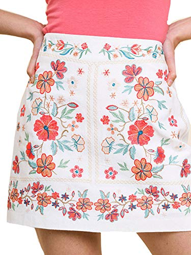 Embroidered Fully Lined Skirt - Umgee That's My Girl! Mandy + Ally's Heavily Embroidered Mini Skirt (New White, Small)