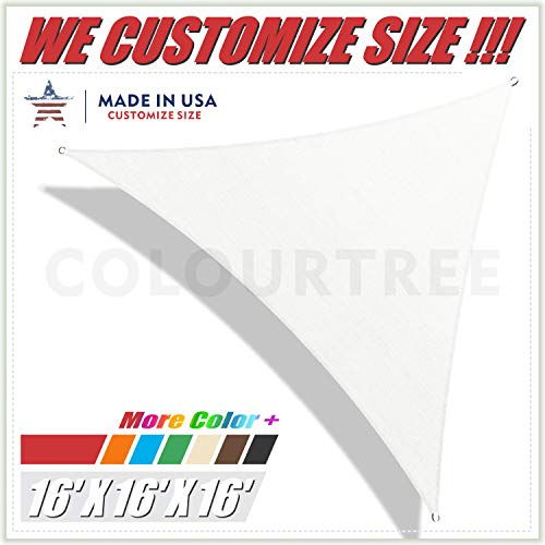 ColourTree 16' x 16' x 16' White Triangle Sun Shade Sail Canopy - UV Resistant Heavy Duty Commercial Grade -We Make Custom - Triangle Sail Shade Sun Canopy