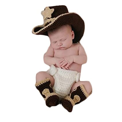 4f933c84c2b41 Newborn Baby Photography Props Boy Girl Photo Shoot Outfits Crochet Knitted  Clothes Cowboy Hat Rompers Set