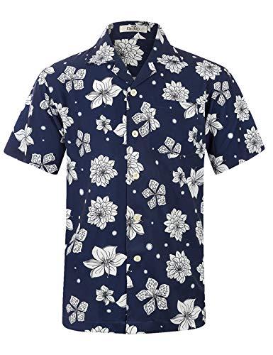 Men's Hawaiian Shirt Short Sleeve Aloha Shirt Beach Party Flower Shirt Holiday Print Casual Shirts Navy EHS028-XL ()