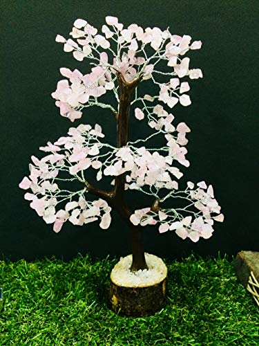 Rose Quartz Tree Natural Color Healing Gemstone Tree Feng Shui Bonsai Money Good Luck Energy Generator Reiki Healing Spiritual Gift Chakra With Crystal Point Gemstone Silver Wire Size : 10-12 - Wire Gemstone Silver