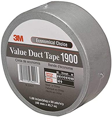 "3M 1900 Value Individual Wrap Duct Tape, 200 Degree F Performance Temperature, 16 lb/in Tensile Strength, 50 yds Length x 1-7/8"" Width, 5.8 mils Thick, Silver (Case of 24) by 3M"