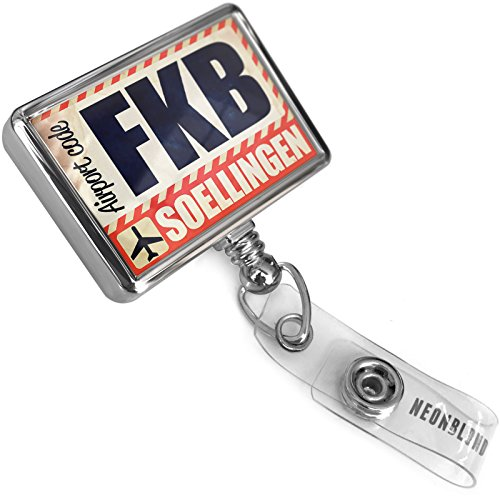 Retractable Id Badge Reel Airportcode Fkb Soellingen With Bulldog Belt Clip On Holder Neonblond