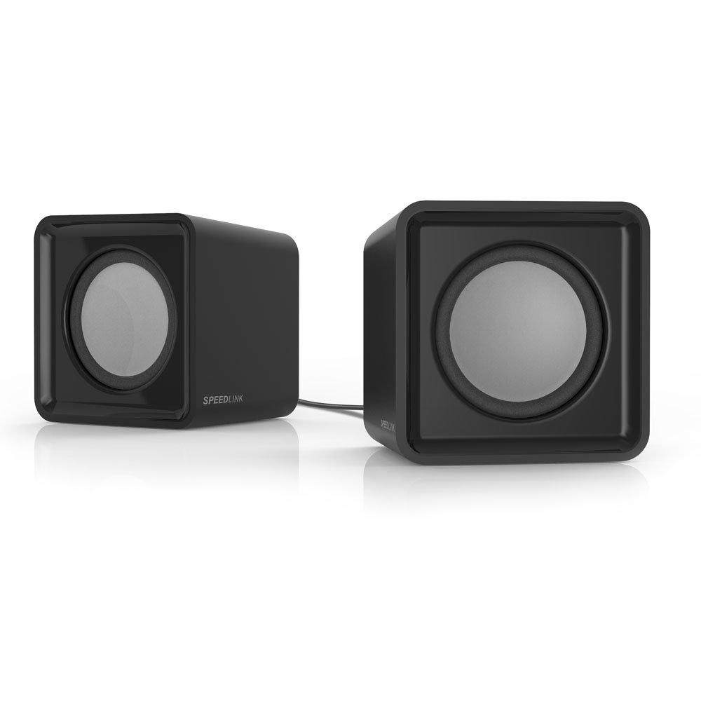 Speedlink USB-betriebene Stereo-Lautsprecher - TWOXO Stereo Speakers USB / 3, 5 (5W RMS Ausgangsleistung - Frequenzbereich 50 Hz – 20 kHz - Maße: 62 × 60 × 62mm (B×T×H)) Computer / Laptop schwarz SL-810004-BK