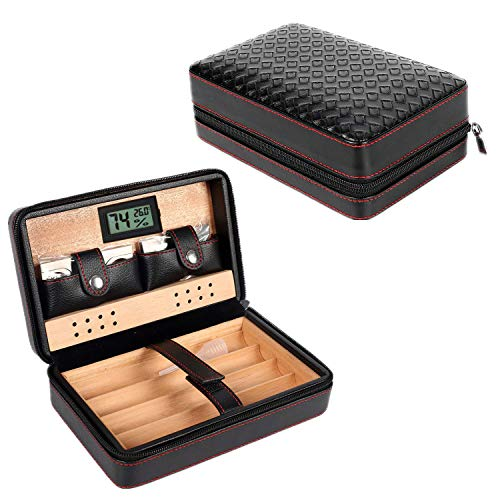 Portable Genuine Leather Cedar Cigar Travel Case Cedar Humidor with Digital Hygrometer Cutter Stand Set Wooden Box (B)