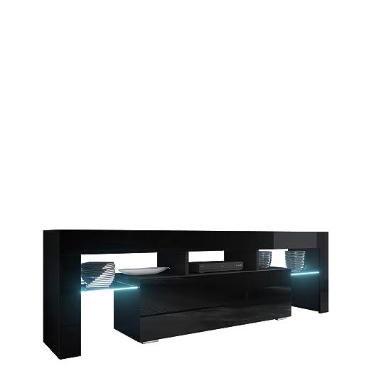 Mirjan24 TV Board Lowboard Toro 138, TV Lowboard mit Grifflose Öffnen, Unterschrank, Sideboard Mediaboard, Fernsehschrank, Me