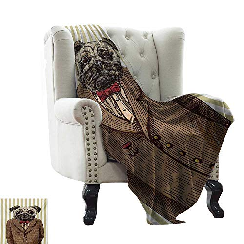 Anyangeight Pug,Digital Printing Blanket,Hand Drawn Sketch of Smart Dressed Dog Jacket Shirt Bow Suit Striped Background 70
