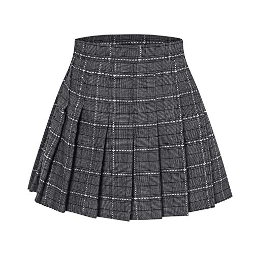 (Girls' Plaid Pleated School Uniform Skort Skirt for Kids Toddlers, Little and Big Girls Grey, Tag 130 = 6-7 Years)