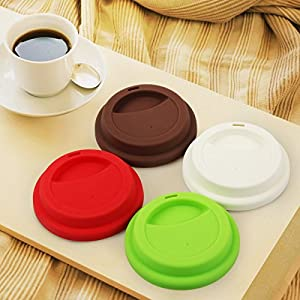 Yilove Food Grade Silicone Cup Lids, Coffee Mug Lid BPA Free, Anti-dust Cup Mug Cover Replacement Lids, 4 Pack(Red Green White Coffee)