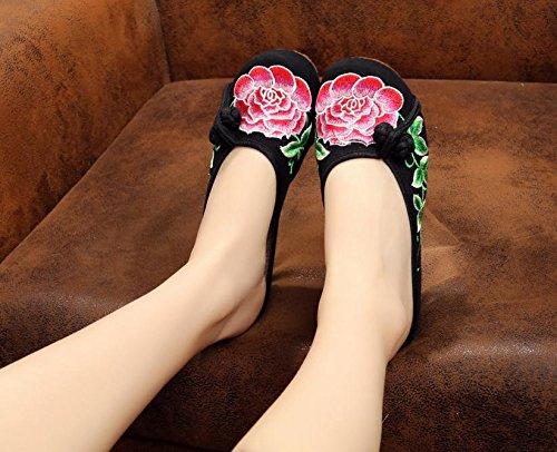 XHX Zapatos bordados, lenguado de tendón, estilo étnico, flip flop femenino, moda, cómodo, sandalias Black