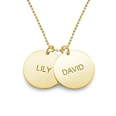 amazon com engraved gold plated disc necklace custom made with