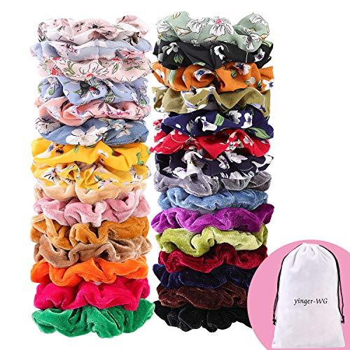 30 Pcs Hair Scrunchies Velvet Elastic Hair Bands Scrunchy Hair Ties Ropes Scrunchie for Women or Girls Hair Accessories - 30 Assorted Colors Scrunchies. ()