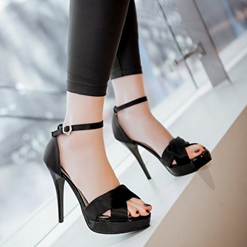 Stiletto Sandalen Mode Schuhe COOLCEPT Damen Schwarz Knochelriemchen Toe Open AZqtwq