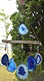 Blues tones Agate slice geode windchime Lake Superior Driftwood stone sun catcher wind chime mobile window decor hanging