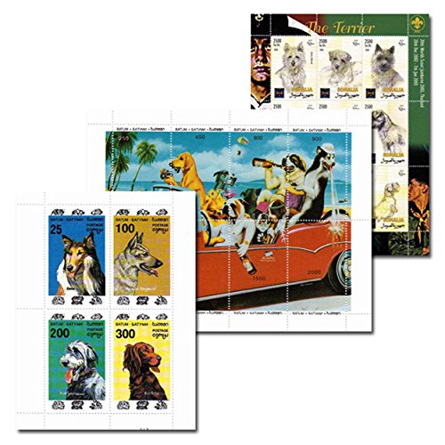 (Stamps for collectors - Dog stamp collection - 21 collectable stamps featuring dogs - 3 souvenir sheets - superb condition - Mint)