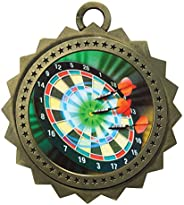 Express Medals Large 3 Inch Darts Gold Medal with Neck Ribbon Award Trophy Plaque Gift Prize