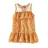 YWLINK Flower Girl Dresses Baby Toddler Kids Girls Sleeveless Ruffles Ruched Floral Dress Princess Dresses Spanish Dresses for Baby Girls Newborn Baby Girl(Yellow,XL)