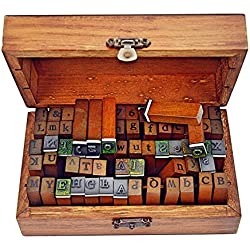 70pcs Alphabet Stamps Vintage Wooden Rubber Letter Number And Symbol Stamp Set For DIY Craft Card Making Happy Planner Scrapbooking Supplies