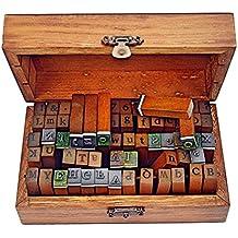 70 piezas alfabeto, sellos de goma de madera, juego de sellos con letras números y símbolos para hacer tarjetas, planificadores felices y suministros para álbumes de recortes