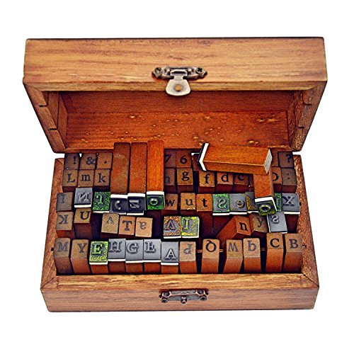 habet Stamps Vintage Wooden Rubber Letter Number And Symbol Stamp Set For DIY Craft Card Making Happy Planner Scrapbooking Supplies ()