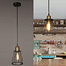 SOUTHPO Vintage Pendant Light Fixture Cage Industrial Iron Pendant Lighting Creative Edison Adjustable Hanging Lights Retro Mini Loft Chandeliers Dining Room Antique 1×E26 MAX 40W Ø5.91 inches Black