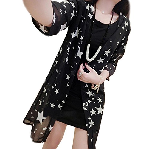 XUANOU Women Stars Printed Chiffon Kimono Shirt Cardigan Blouse Sunscreen Shawl (Medium, Black) (Top Anime For Adults)
