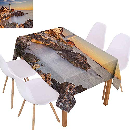 UHOO2018 United States,Everyday Kitchen Tablecloth,Cape Elizabeth Maine River Portland Lighthouse Sunrise USA Coast Scenery,Perfect for Any Entertaining Event,Pale Blue Tan,60
