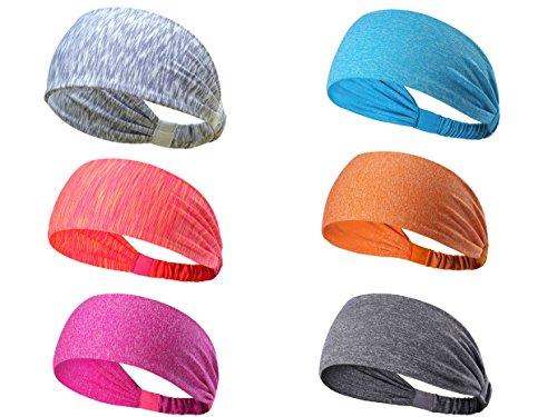 (6Pack Sports Headbands for Teens Girls Women Lightweight Sweatband Hairband for Yoga Running Biking Basketball,Quick Dry(blue,light grey,pink yellow melange))