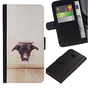 iBinBang / Flip Funda de Cuero Case Cover - Perro Vignette Marrón Negro Labrador - HTC One M8