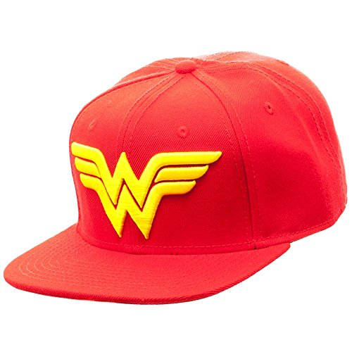 Wonder Woman Logo Snapback Cap Hat New Licensed New DC (Adult Red And Gold Super Hero Boots)