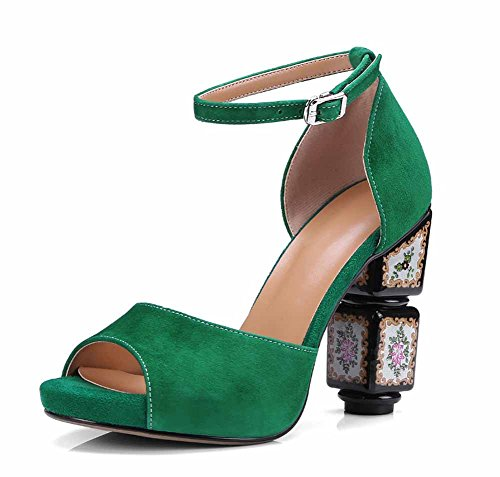 Grandi Cinturino Green Pompe Caviglia Dimensioni Buckle Donna Nuovo Printing Toe Di Alla Alto Estate Sandals 2018 Peep Stile Bohemian Tacco qTF1xC
