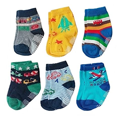 Deluxe Anti Non Skid Slip Slipper Crew Socks With Grips For Baby Toddler Boys (9-18 Months, 6-pairs/assorted)