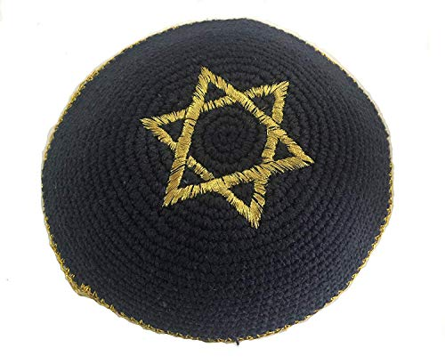 Bethlehem Gifts TM Embroidered Knitted Jewish Prayer Kippah from Jerusalem (Gold Magen David Navy Blue Kippah)]()