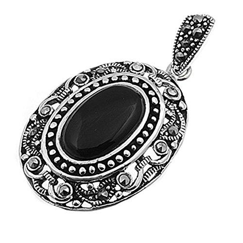 (Ornate Filigree Oval Pendant Black Simulated Onyx .925 Sterling Silver)