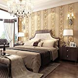 Non-Woven Wallpaper European 3D Striped Wallpaper Bedroom TV Background Wall-(Golden)